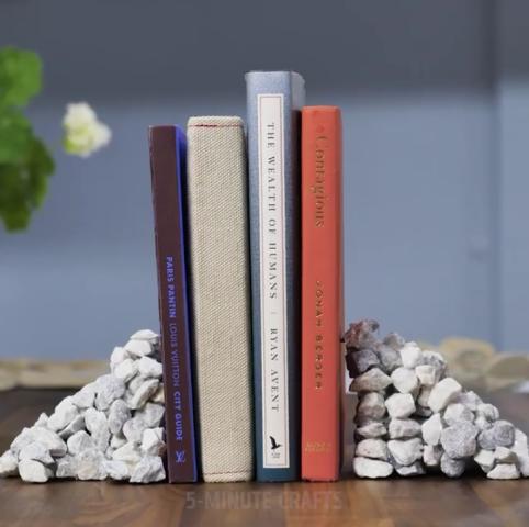 ý tưởng từ sỏi màu giá để sách