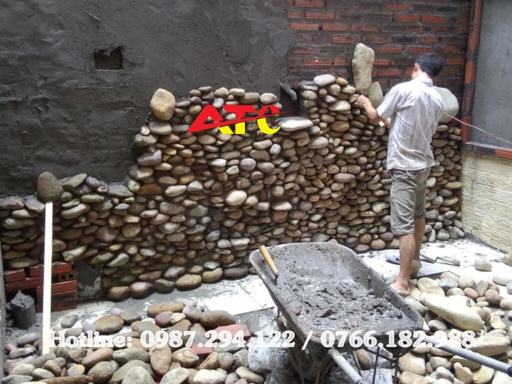 sỏi găn tường làm thác nước