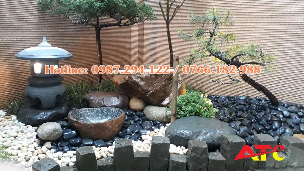 bán đá cuội đen sân vườn
