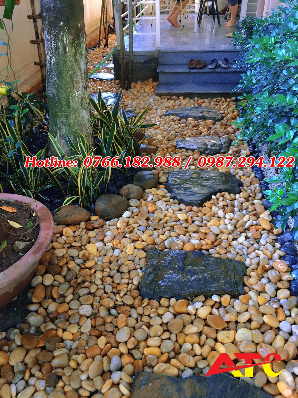 sỏi vàng rải sân vườn